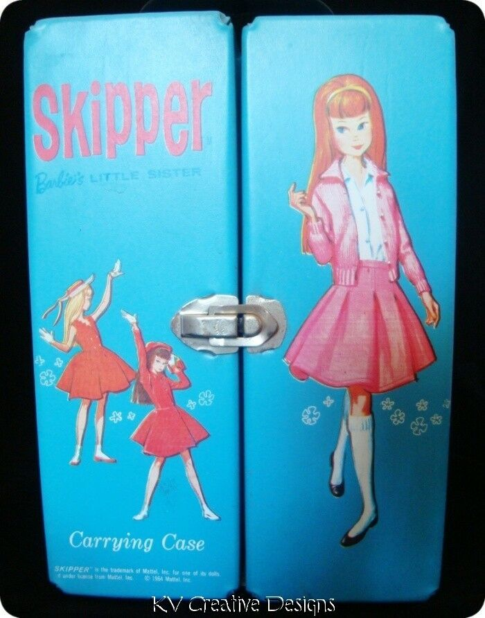 Turquoise Barbie House: Mattel SKIPPER Turquoise Blue Carrying Doll Case Trunk