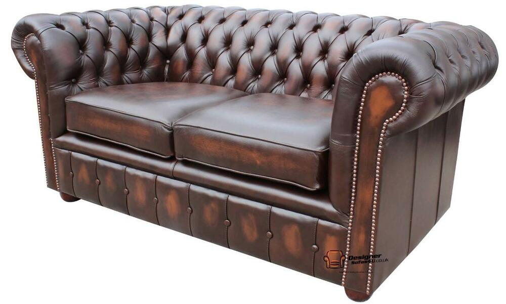 new chesterfield 2 seater sofa settee antique brown real leather couch ebay. Black Bedroom Furniture Sets. Home Design Ideas