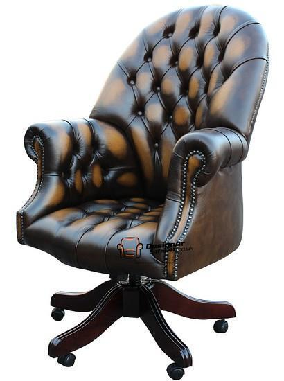 Chesterfield Directors Swivel Office Chair Antique Gold