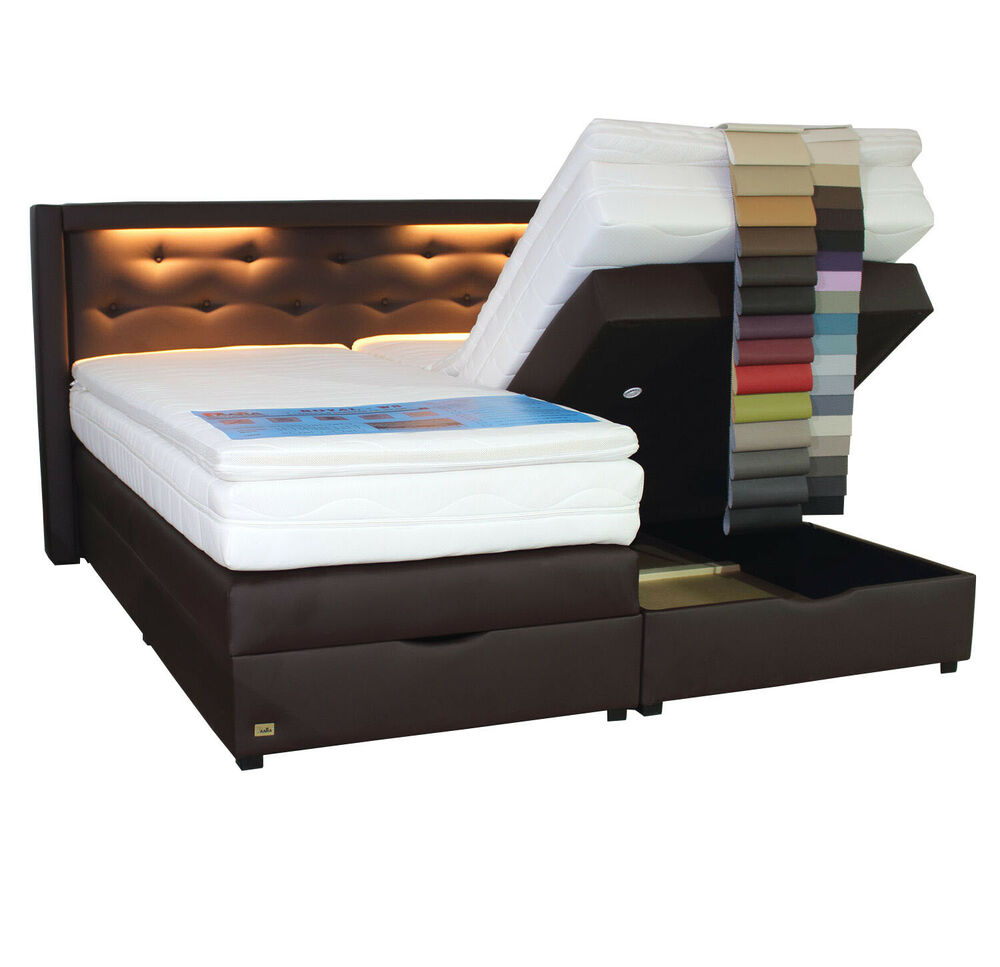 boxspringbett mit bettkasten led 100x200 120x200 140x200 160x200 180x200 200x200 ebay. Black Bedroom Furniture Sets. Home Design Ideas