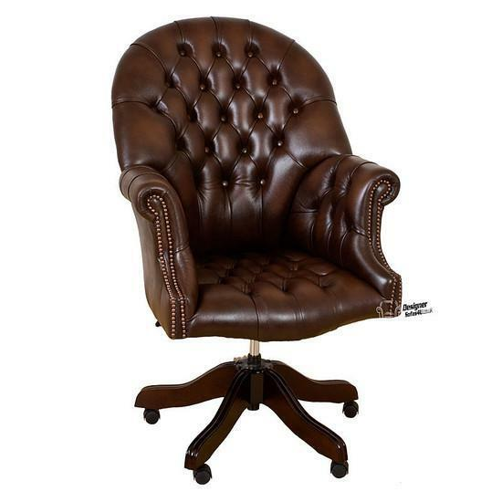 Chesterfield Directors Swivel Office Chair Antique Brown