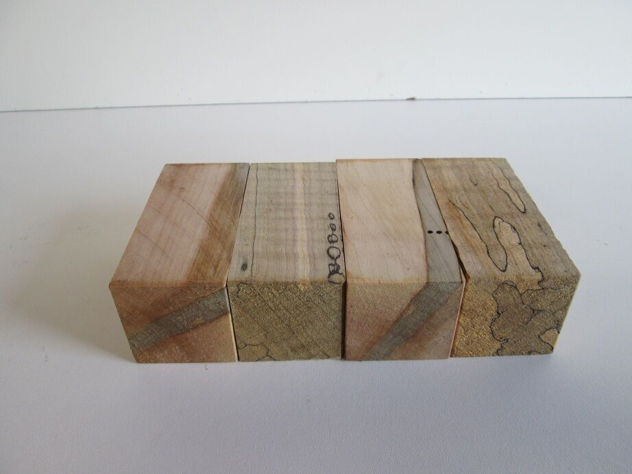 Pack of spalted curly and maple wood bottle