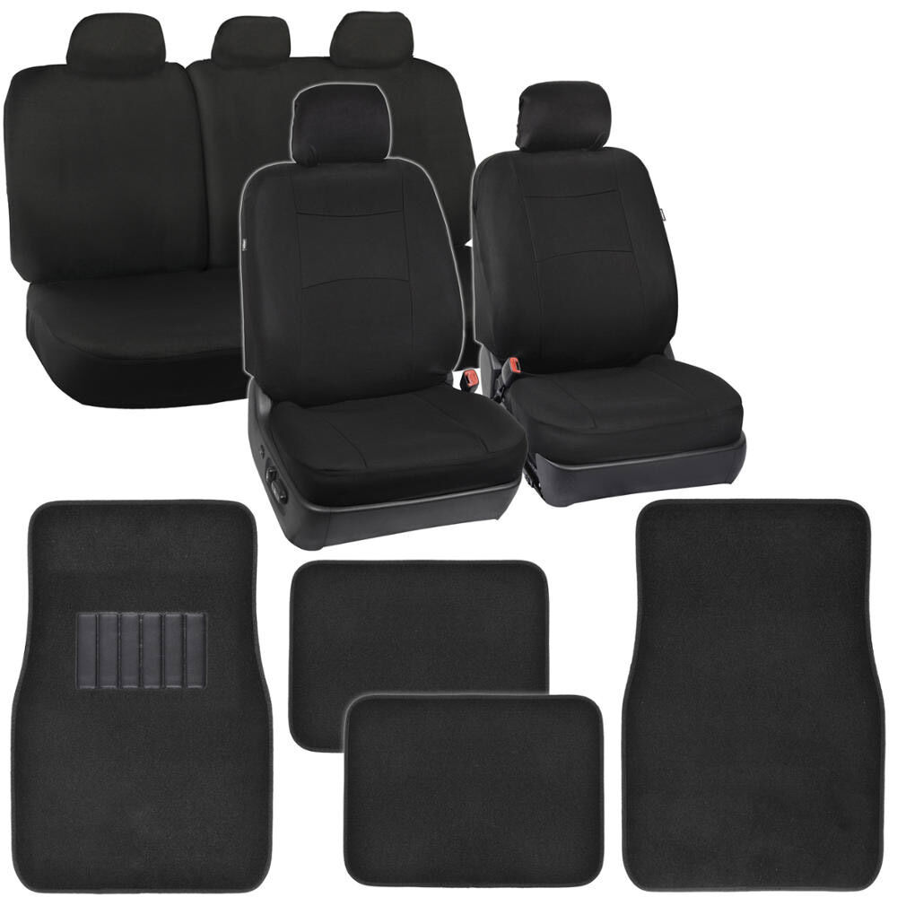 Poly Black Seat Covers For Car Auto Floor Mats Carpet