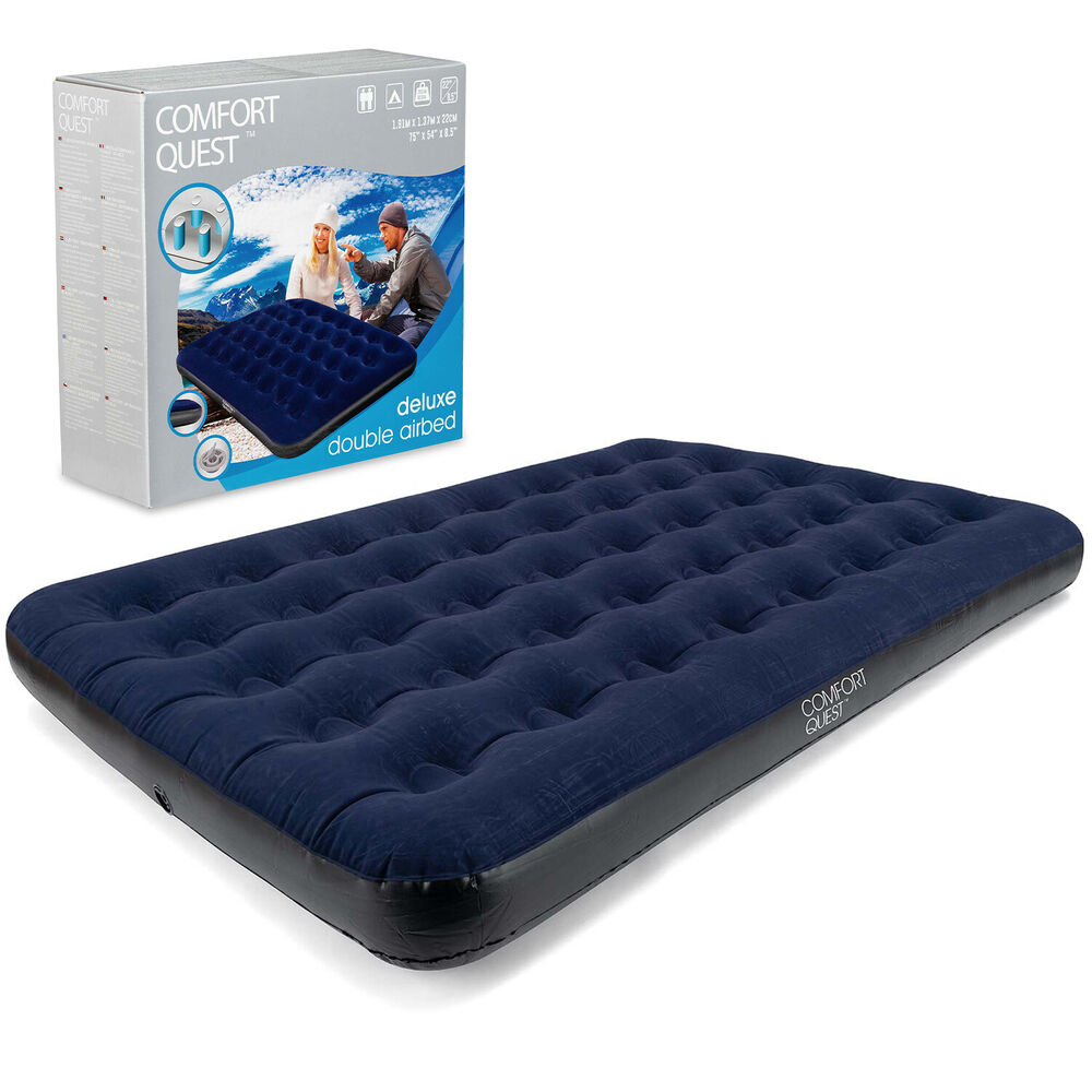 Double Air Bed Inflatable Airbed Flocked Guest Camping