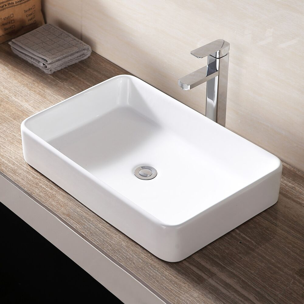 sink bowls for bathroom white rectangle bathroom sink bowl vessel basin w pop up 20383