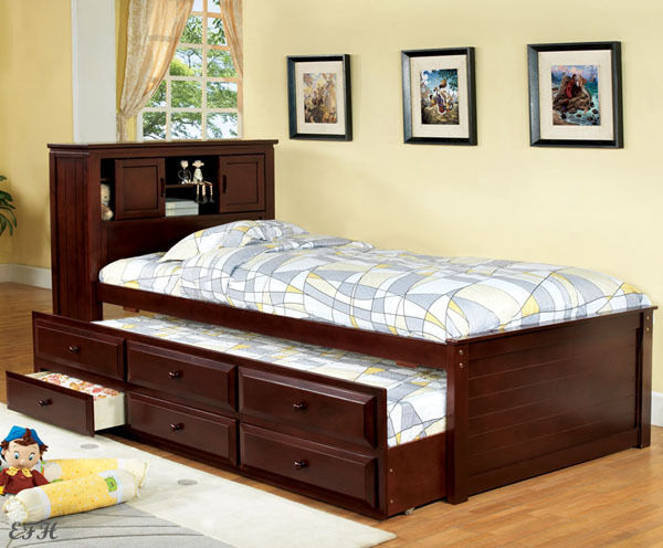 New Southland Cherry Finish Wood Twin Size Bookcase Bed W
