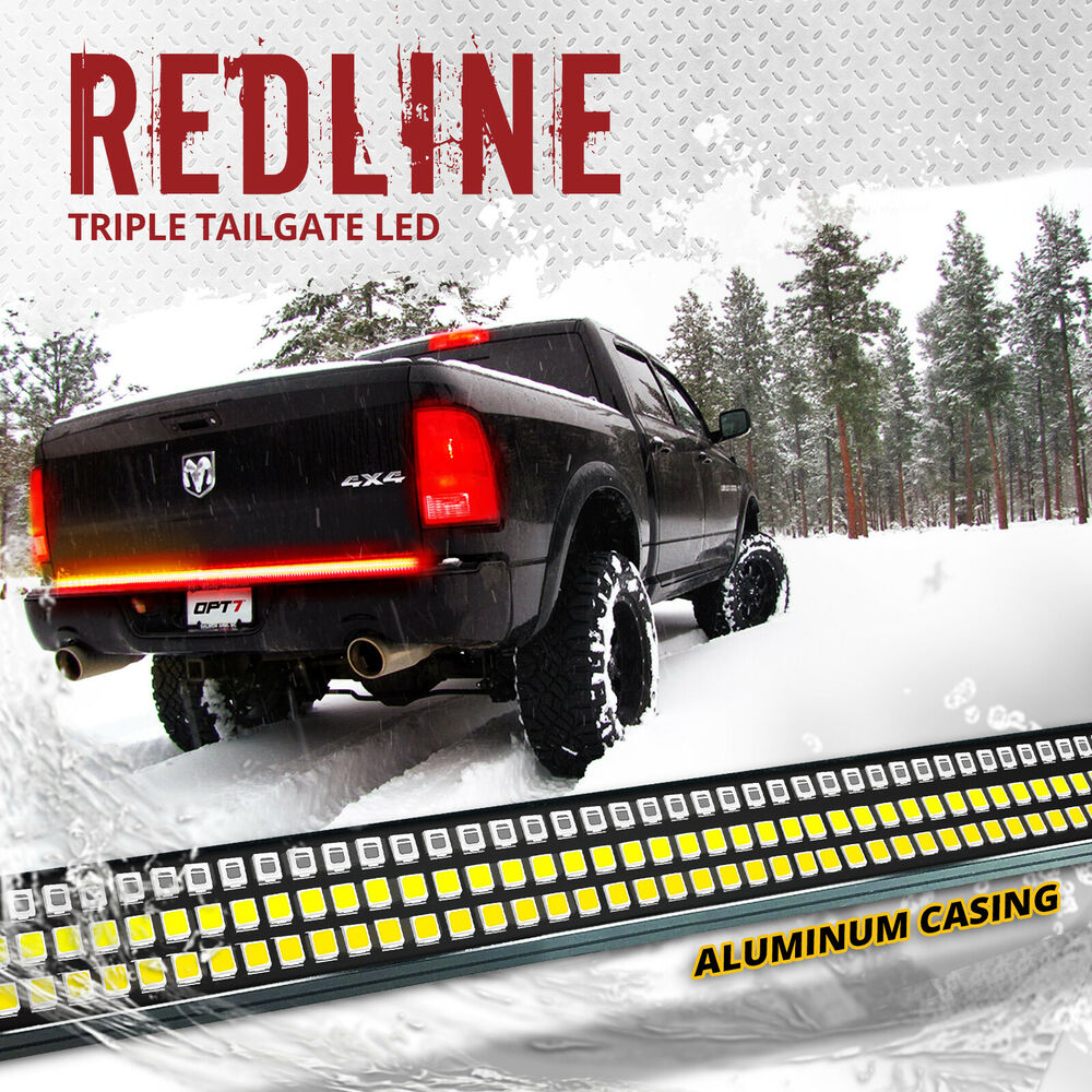 48 quot TRIPLE LED Tailgate Bar Sequential Turn Signal Amber