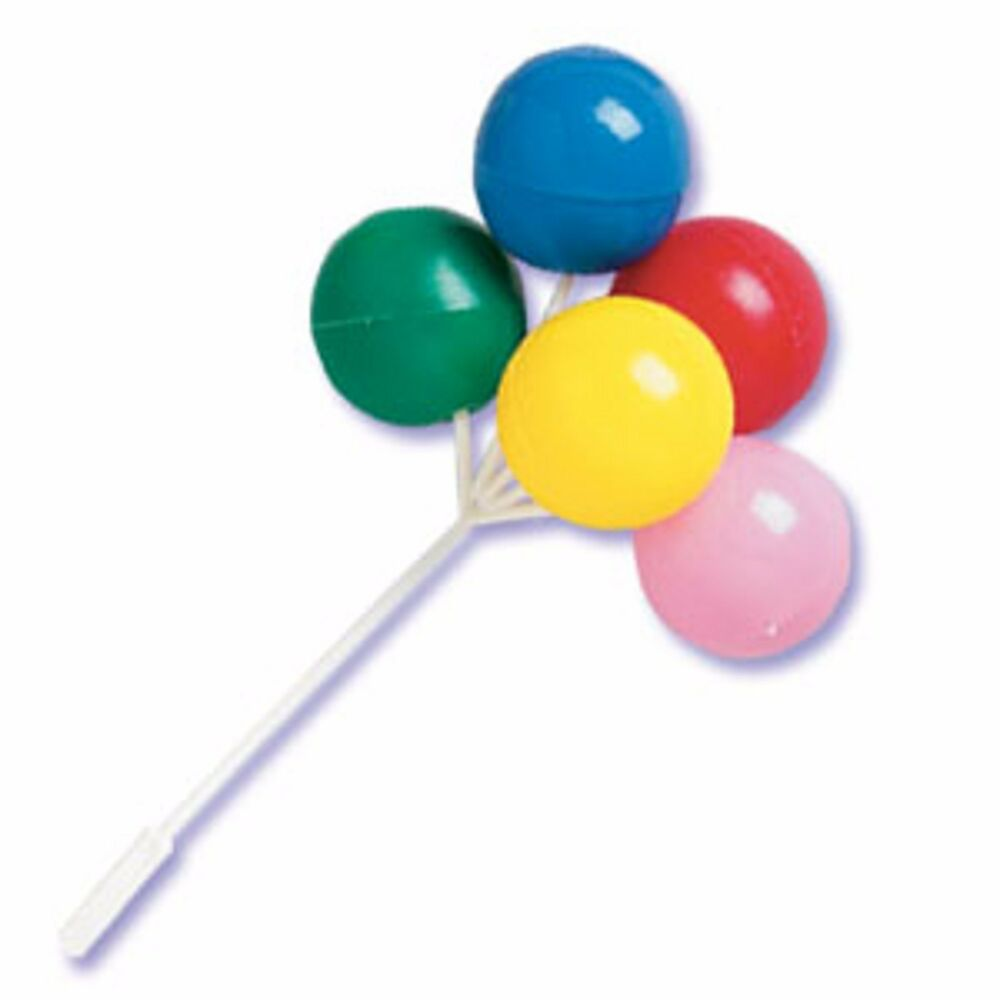12 Bunches Mini Plastic Balloons Sticks Picks Cup Cake