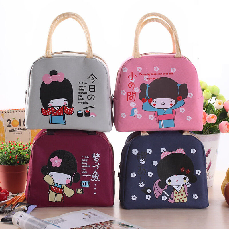 kawaii girl insulated lunch bag bento lunch box bag lunch box container bag ebay. Black Bedroom Furniture Sets. Home Design Ideas
