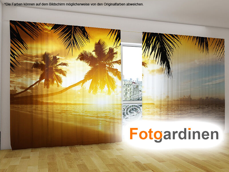 fotogardinen palme vorhang mit motiv 3d fotodruck. Black Bedroom Furniture Sets. Home Design Ideas
