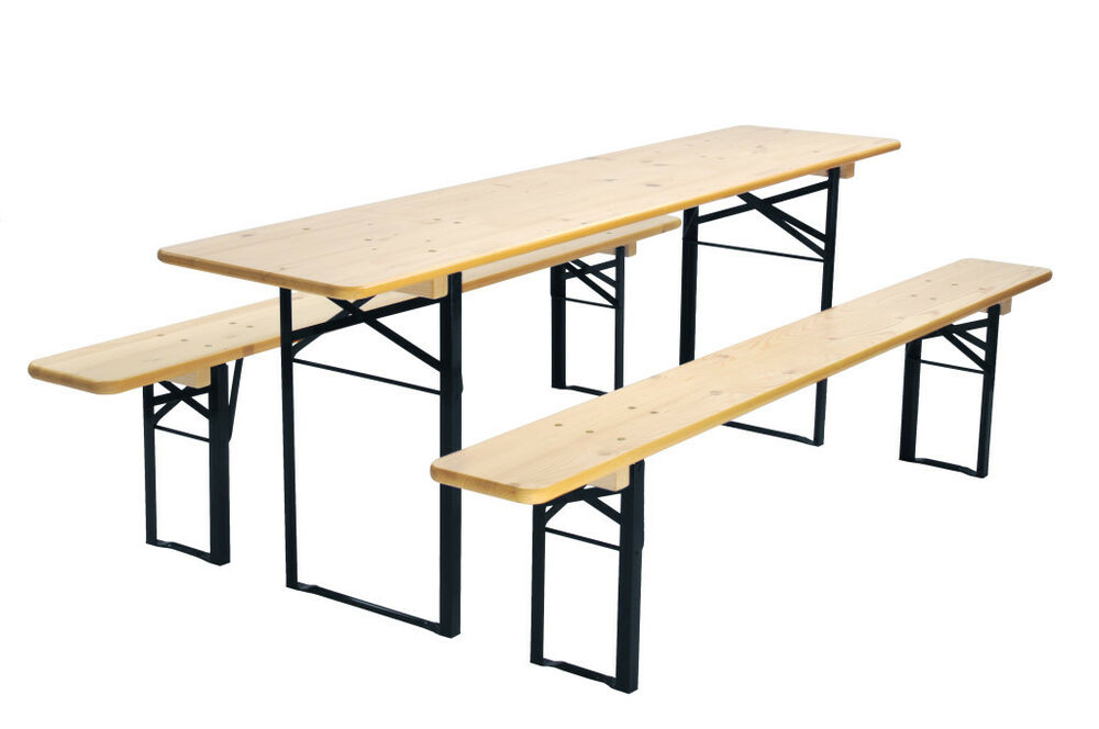 Beer garden table and bench set folding german made ebay for Outdoor tables and chairs for sale