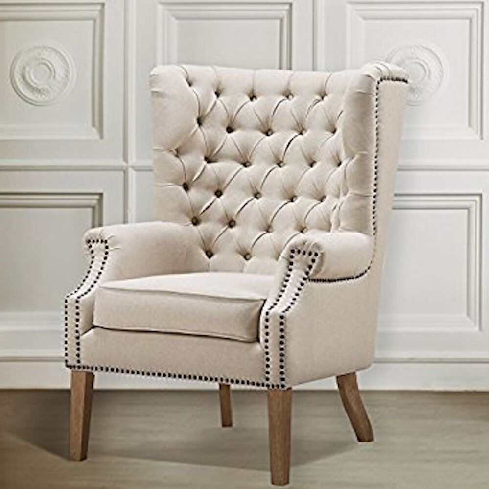 Restoration Hardware Chairs: Restoration Hardware Replica Tufted Wingback Wing Barrel