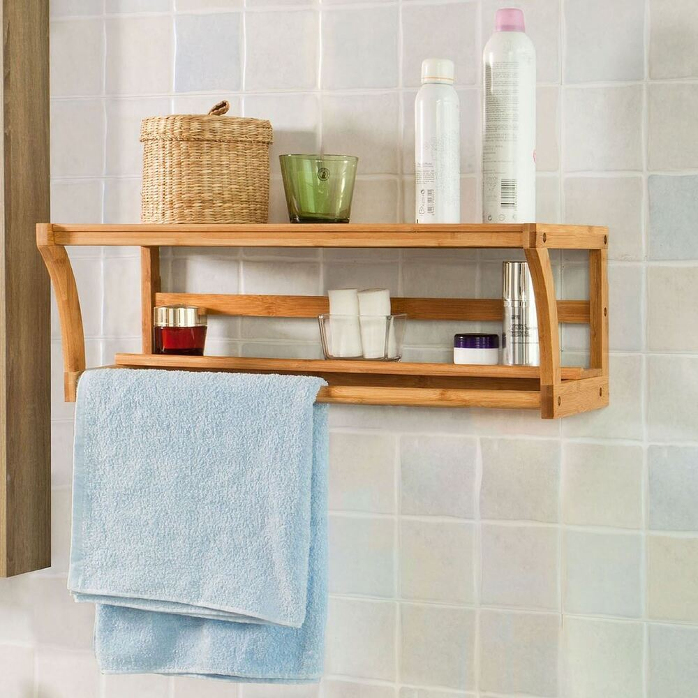 Bamboo Wooden Wall Mounted Bathroom Towel Rail Holder Shelf Unit Storage Rack 5054667100417 Ebay