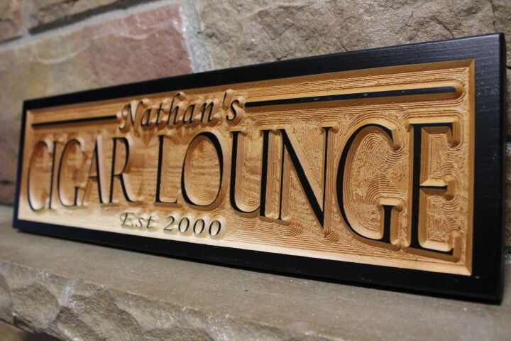 Cigar lounge personalized custom carved wood sign rustic