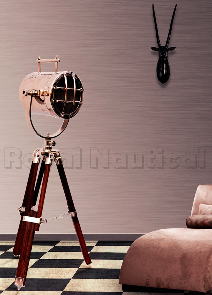 Nautical Spotlight Searchlight Desk Floor Lighting Tripod