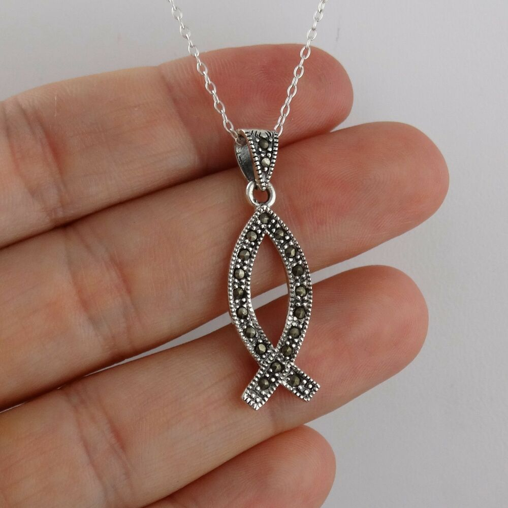 marcasite ichthus pendant necklace 925 sterling silver On christian fish necklace