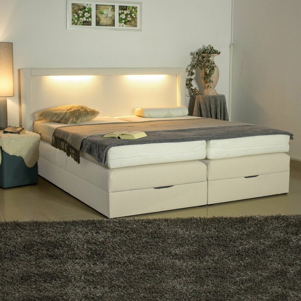 boxspringbett led beleuchtung warm wei polsterbett mit 2 bettkasten zwei neu ebay. Black Bedroom Furniture Sets. Home Design Ideas