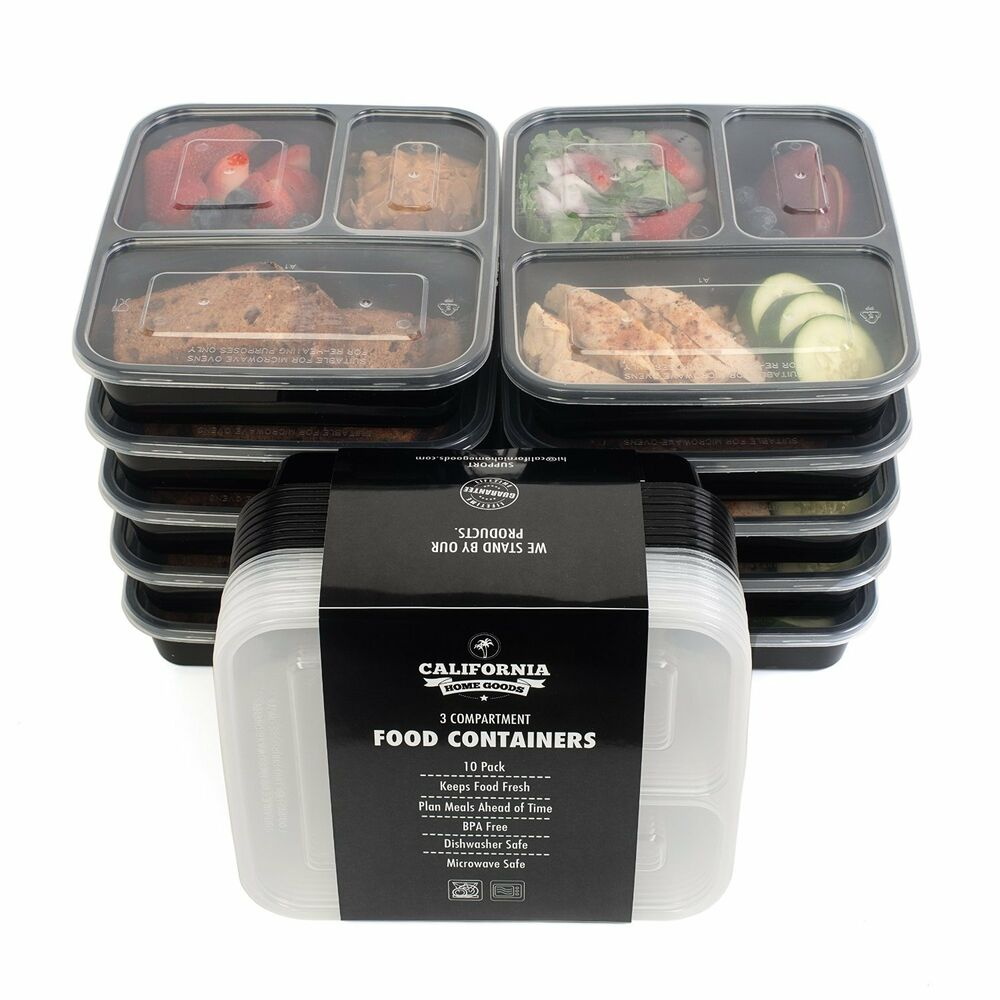 10 meal prep food storage containers 3 compartment reusable plastic bento lunch ebay. Black Bedroom Furniture Sets. Home Design Ideas