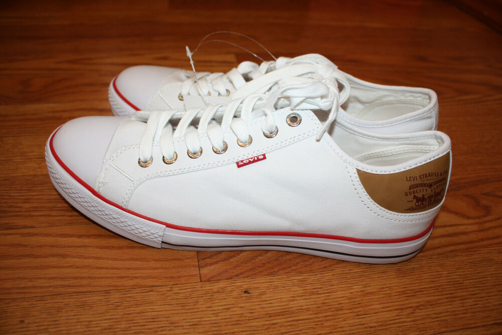 new mens levis stan buck white sneaker canvas shoes size 8