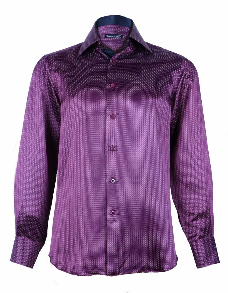 Mens 38 R Black Raffinatti Cutaway Jacket Tuxedo Morning: Stefano Ricci Men's Purple Patterned Silk Woven Dress