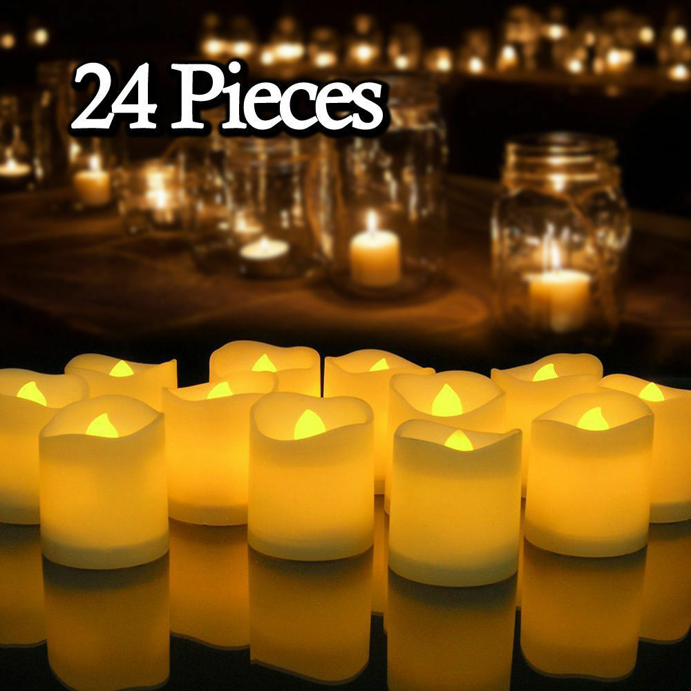 24 Flameless Battery Christmas Led Tea Light Flickering
