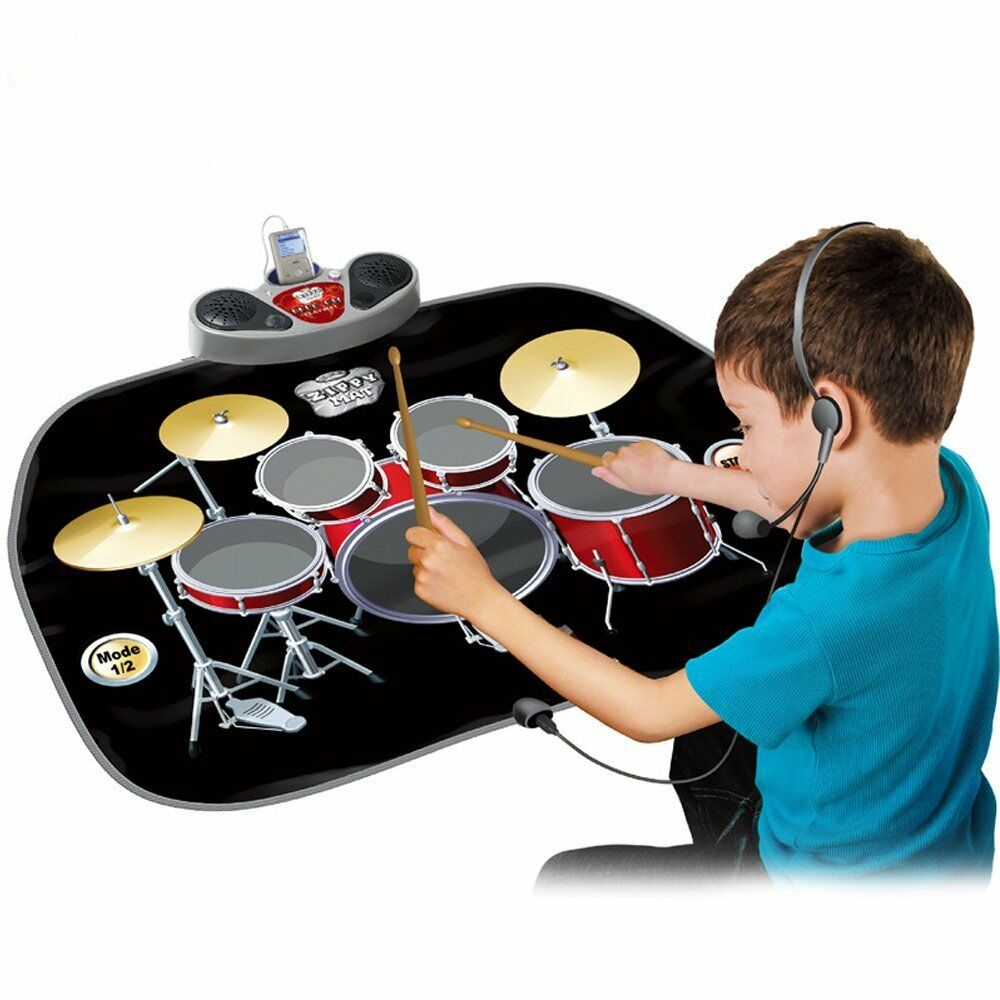 Kids Electronic Drum Kit Stick Touch Playmat Musical Toy