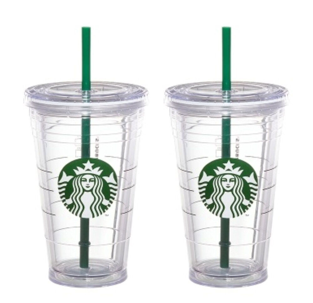 2x Starbucks Reusable Cold Cup Grande Coffee Clear Siren
