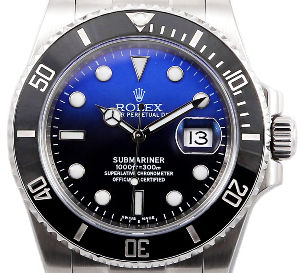 Rolex submariner 116610 ceramic stainless steel with custom deep blue dial 40mm ebay for Submariner rolex blue