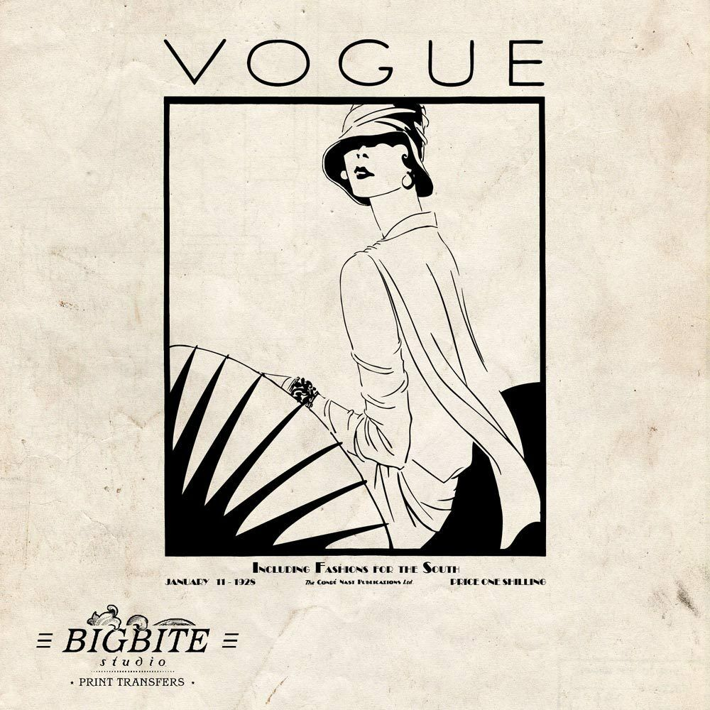 Victorian baby crib for sale - Water Decal Art Deco Vintage Vogue Magazine Cover Furniture Print Transfer 054