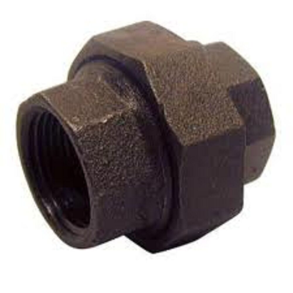 Quot black malleable union iron pipe fittings threaded