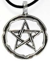 PENTAGRAM STAR Silver Pewter Pendant Leather Necklace