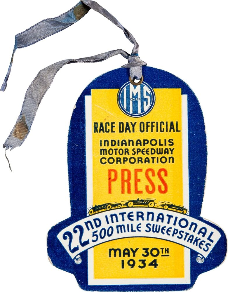 1934 Indianapolis 500 Race Day Original Official Press
