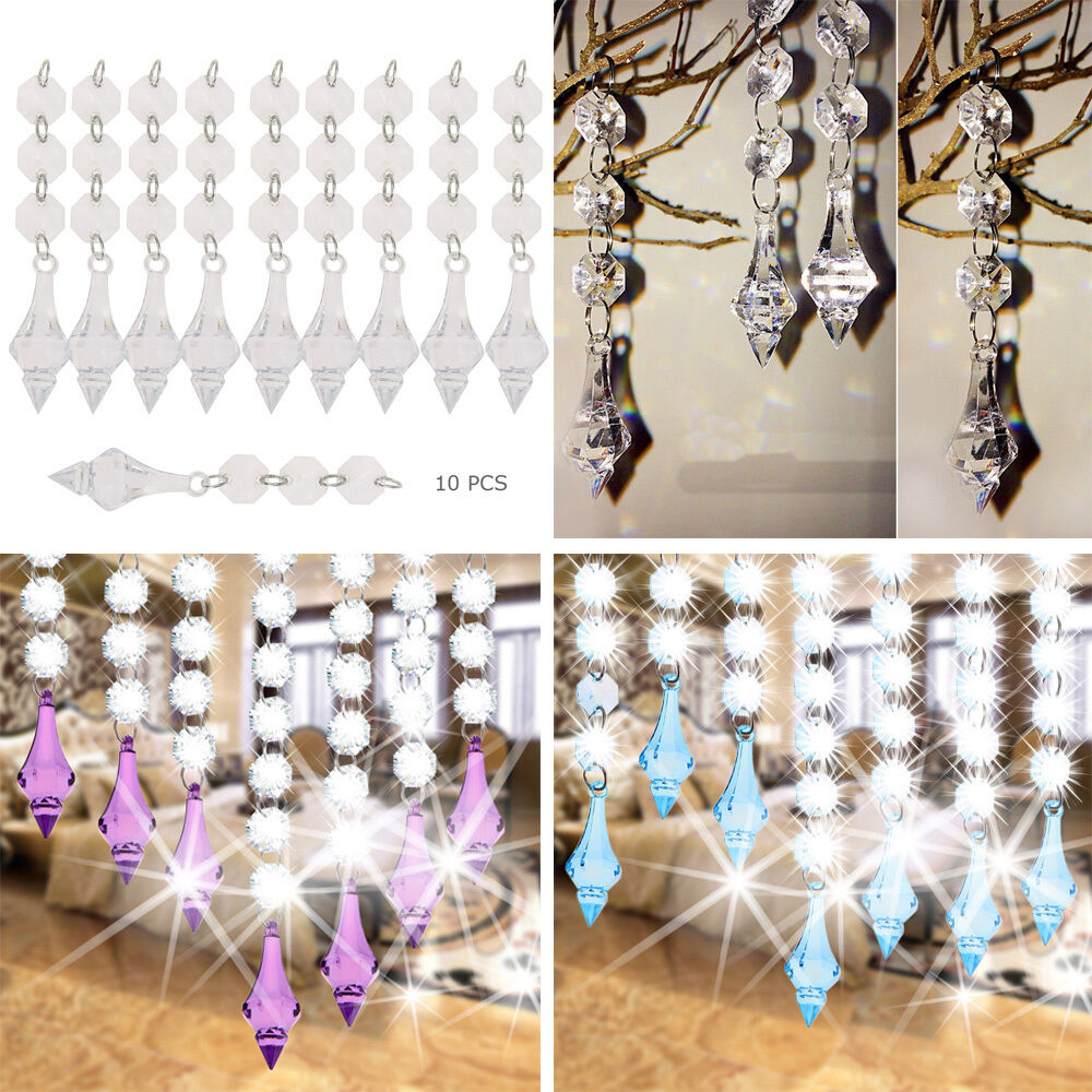 10 pcs acrylic crystal beads garland chandelier hanging for Plastic chandeliers for parties