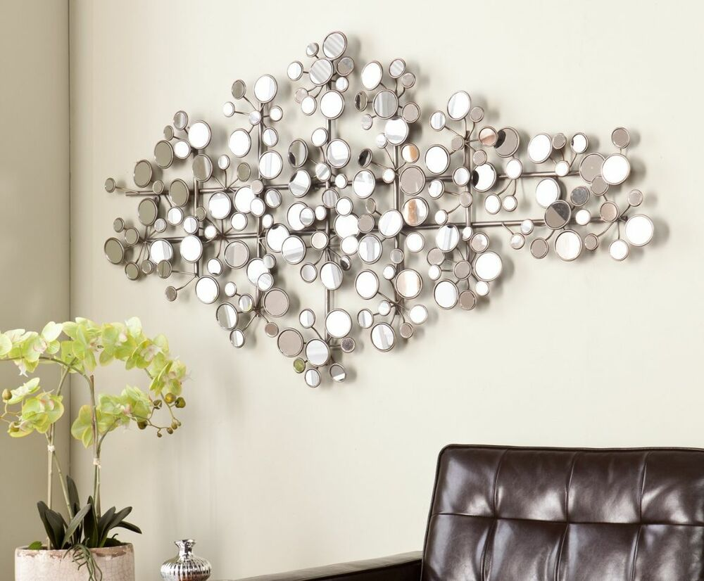 Round mirror wall art metal modern silver circle sculpture for Silver wall art