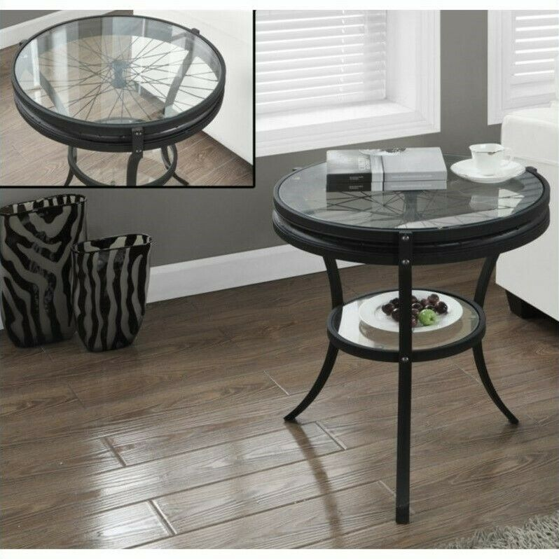 Black Acrylic Zella Accent Table: Monarch Accent Table End Tables In Hammered Black With