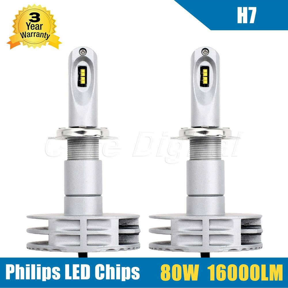 1 pair 80w 16000lm h7 led headlights headlamp conversion. Black Bedroom Furniture Sets. Home Design Ideas