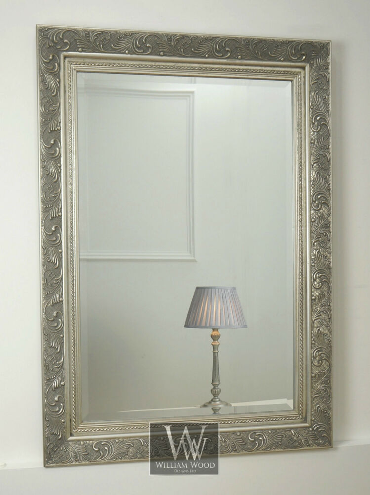 Amba silver ornate rectangle vintage wall mirror 44 x 32 for Large silver wall mirror