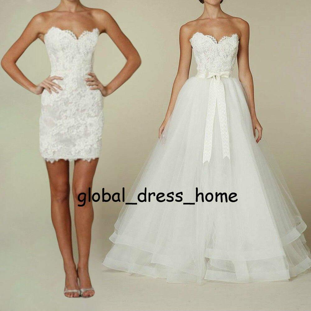 Two pieces wedding dresses detachable skirt princess for Wedding dresses 2 in 1