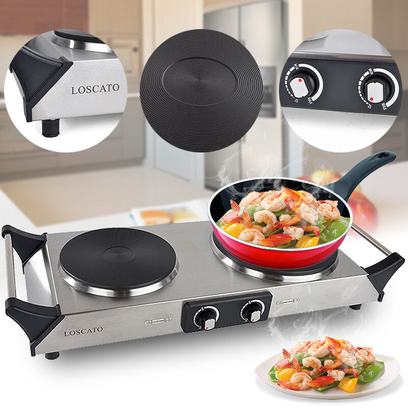Countertop Gas Stove Portable : ... Portable Electric Double Burner Cast Iron Cooktop Countertop Stove