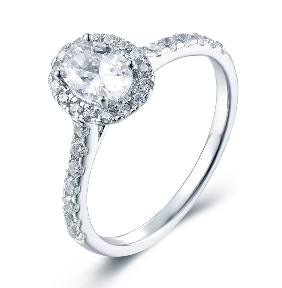 925 STERLING SILVER HALO OVAL CZ ENGAGEMENT RING BAND
