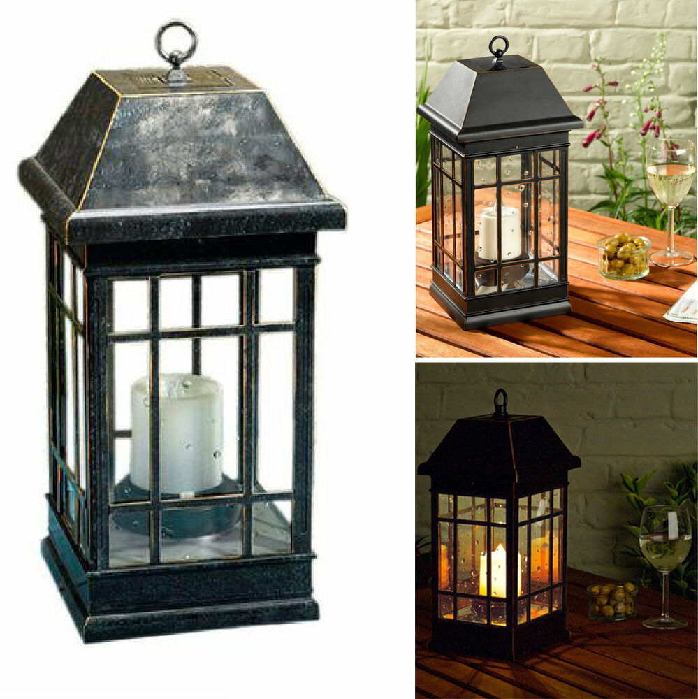 Solar Garden Light Lantern: Outdoor Solar Lantern Hanging Light Led Pillar Candle Yard