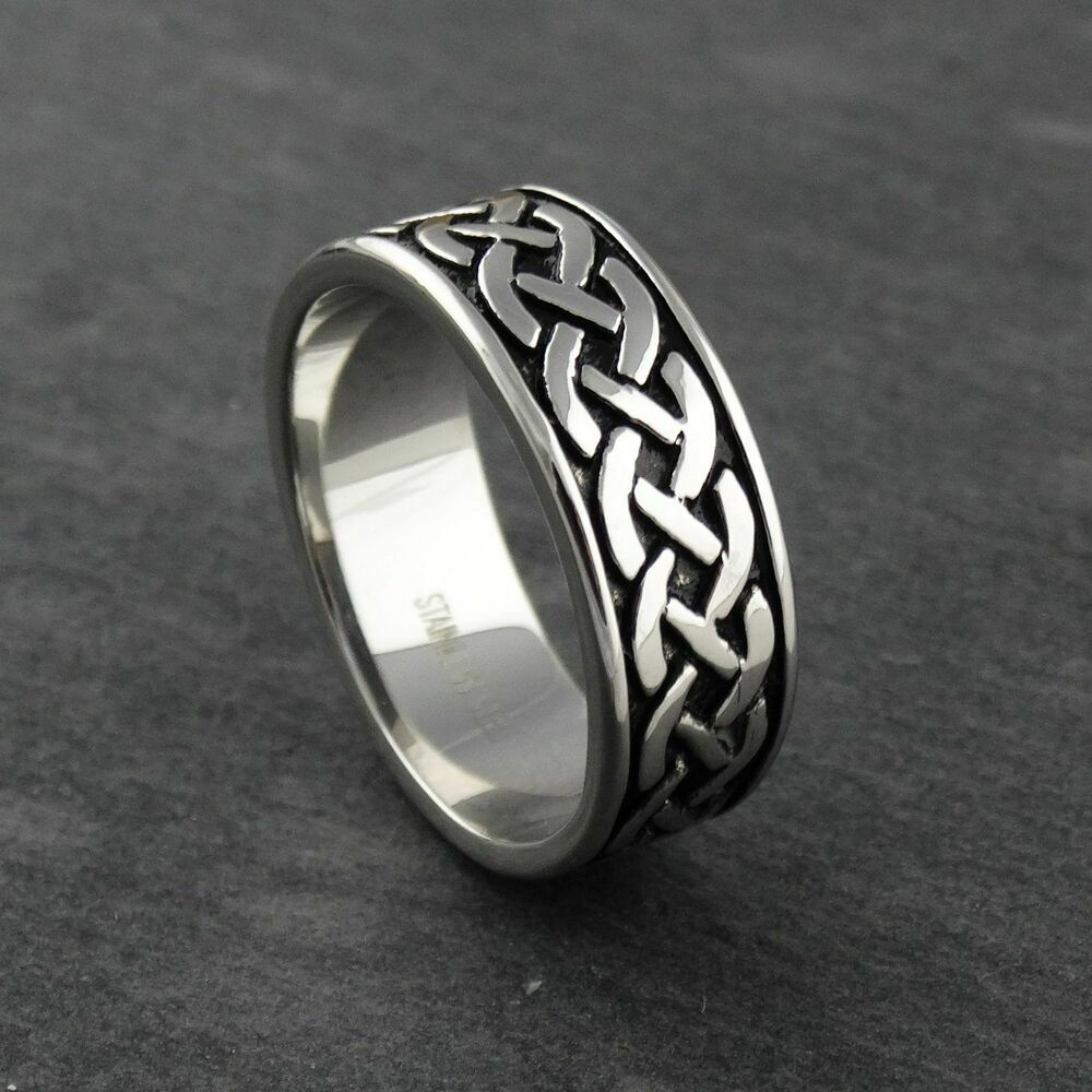 wedding ring mens men s celtic braid ring stainless steel 9mm wedding 9967