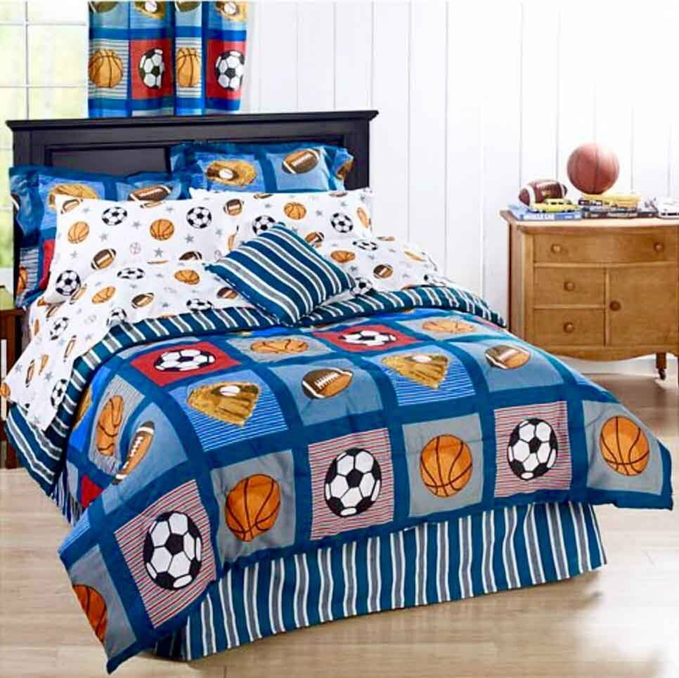 boys bed set all sports boys bedding football basketball soccer balls 10919