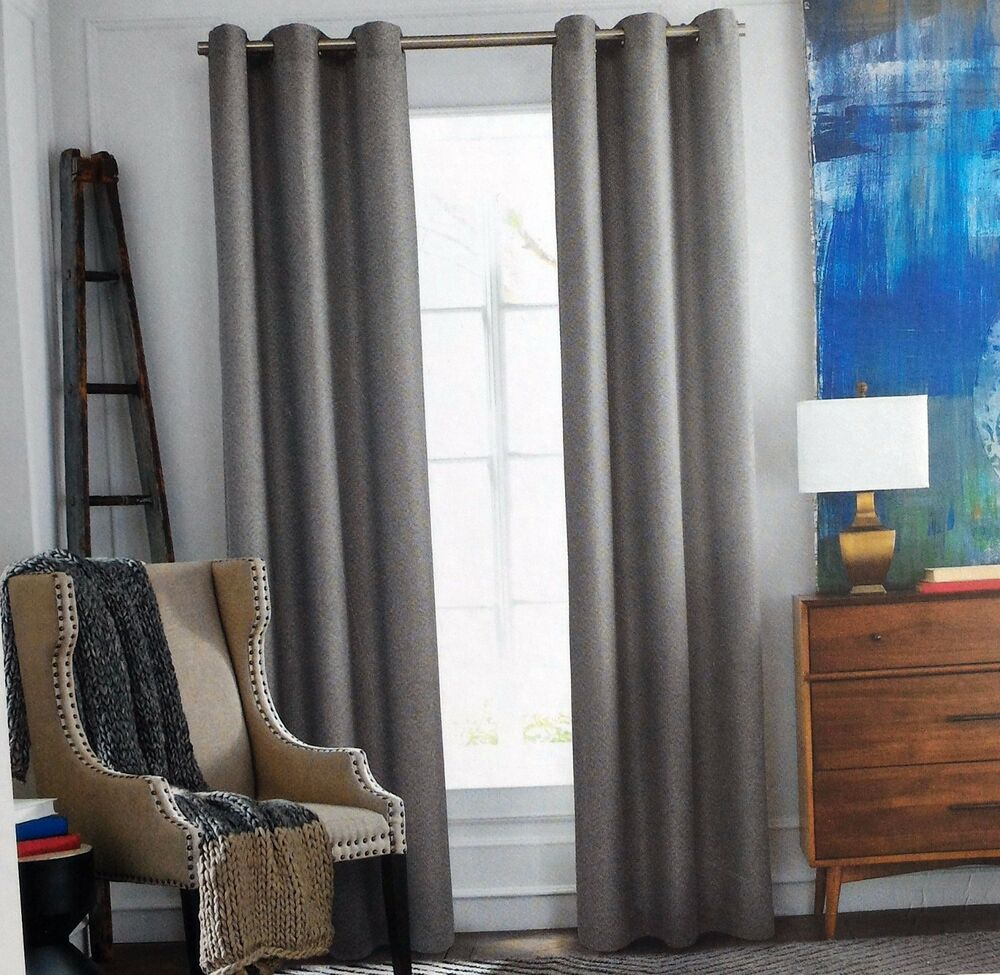 New Tommy Hilfiger Rustic Weave Gray Window Curtain Panels