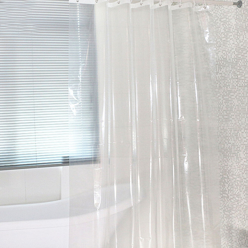 Transparent Waterproof Clear White Bathroom Shower Curtain Peva 183 183cm Ebay