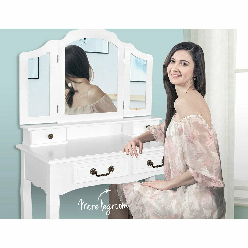 White dressing table vanity set w tri fold mirror and for Vanity with mirror and stool