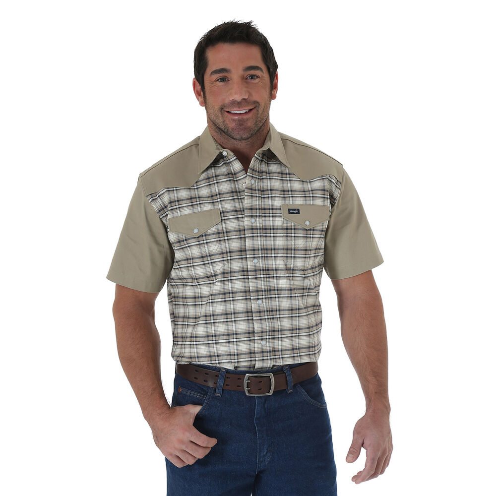 Wrangler Shirts: Men's Chambray MW Cowboy Cut Short Sleeve Western Shirt. I purchased this Wrangler MW short sleeve western shirt to wear for work and it is great. The style of the shirt is great and fits great on my body. It runs true to size. The construction is fantastic and the material seems very durable as well.