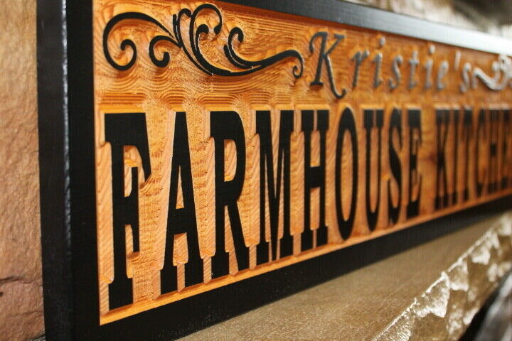 Custom Farmhouse Kitchen Sign Wood Personalized Rustic