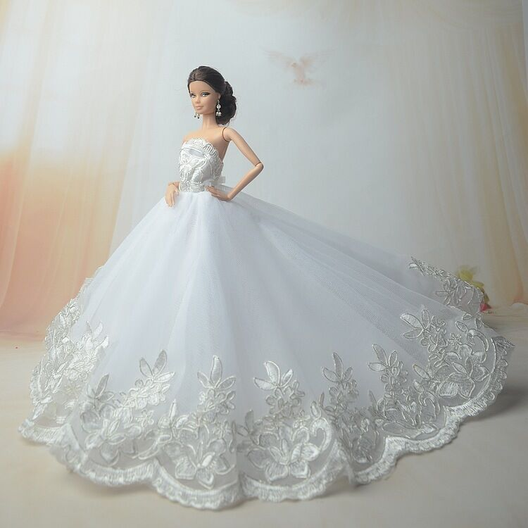 White Fashion Royalty Princess Dress/Clothes/Gown For