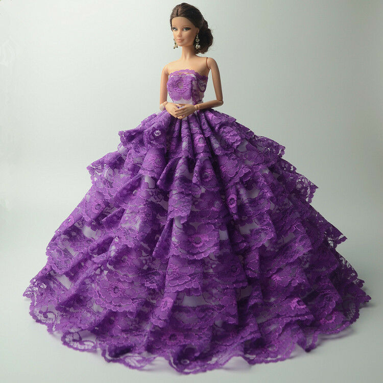 Purple Fashion Royalty Princess Dress Clothes Gown For